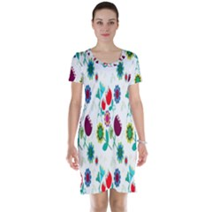 Lindas Flores Colorful Flower Pattern Short Sleeve Nightdress