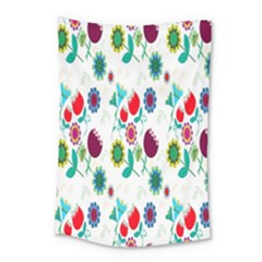 Lindas Flores Colorful Flower Pattern Small Tapestry by Simbadda
