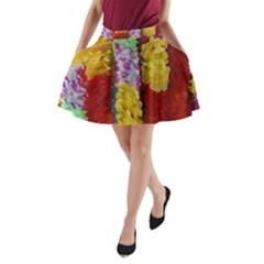 Colorful Hawaiian Lei Flowers A Line Pocket Skirt by Simbadda
