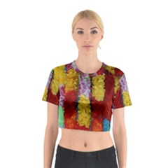 Colorful Hawaiian Lei Flowers Cotton Crop Top