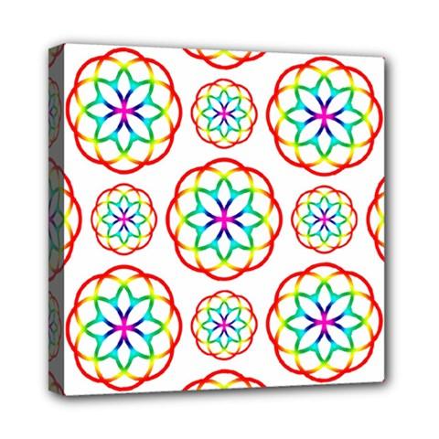 Geometric Circles Seamless Rainbow Colors Geometric Circles Seamless Pattern On White Background Mini Canvas 8  x 8