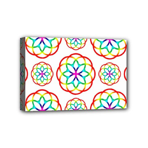 Geometric Circles Seamless Rainbow Colors Geometric Circles Seamless Pattern On White Background Mini Canvas 6  x 4