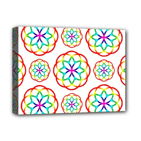 Geometric Circles Seamless Rainbow Colors Geometric Circles Seamless Pattern On White Background Deluxe Canvas 16  x 12