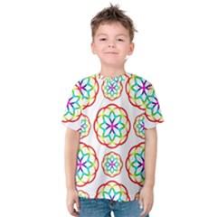 Geometric Circles Seamless Rainbow Colors Geometric Circles Seamless Pattern On White Background Kids  Cotton Tee