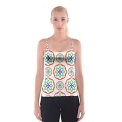 Geometric Circles Seamless Rainbow Colors Geometric Circles Seamless Pattern On White Background Spaghetti Strap Top