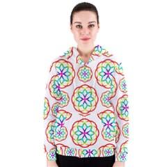 Geometric Circles Seamless Rainbow Colors Geometric Circles Seamless Pattern On White Background Women s Zipper Hoodie