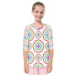 Geometric Circles Seamless Rainbow Colors Geometric Circles Seamless Pattern On White Background Kids  Quarter Sleeve Raglan Tee
