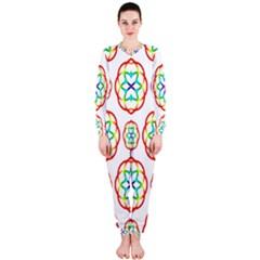 Geometric Circles Seamless Rainbow Colors Geometric Circles Seamless Pattern On White Background OnePiece Jumpsuit (Ladies)