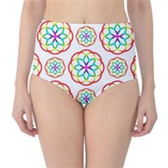 Geometric Circles Seamless Rainbow Colors Geometric Circles Seamless Pattern On White Background High-Waist Bikini Bottoms