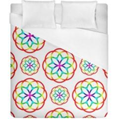 Geometric Circles Seamless Rainbow Colors Geometric Circles Seamless Pattern On White Background Duvet Cover (California King Size)
