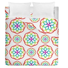 Geometric Circles Seamless Rainbow Colors Geometric Circles Seamless Pattern On White Background Duvet Cover Double Side (Queen Size)