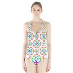 Geometric Circles Seamless Rainbow Colors Geometric Circles Seamless Pattern On White Background Halter Swimsuit