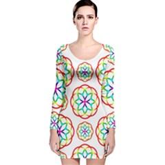 Geometric Circles Seamless Rainbow Colors Geometric Circles Seamless Pattern On White Background Long Sleeve Velvet Bodycon Dress