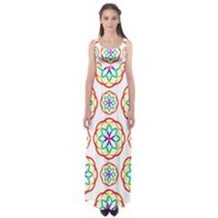 Geometric Circles Seamless Rainbow Colors Geometric Circles Seamless Pattern On White Background Empire Waist Maxi Dress by Simbadda