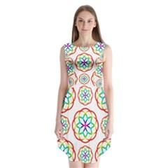 Geometric Circles Seamless Rainbow Colors Geometric Circles Seamless Pattern On White Background Sleeveless Chiffon Dress