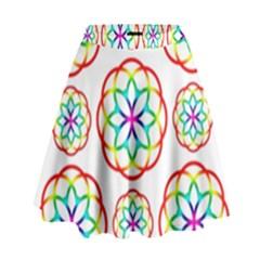 Geometric Circles Seamless Rainbow Colors Geometric Circles Seamless Pattern On White Background High Waist Skirt