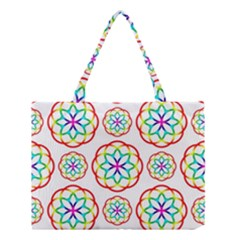 Geometric Circles Seamless Rainbow Colors Geometric Circles Seamless Pattern On White Background Medium Tote Bag by Simbadda