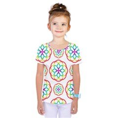 Geometric Circles Seamless Rainbow Colors Geometric Circles Seamless Pattern On White Background Kids  One Piece Tee