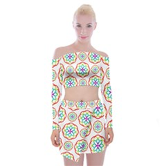 Geometric Circles Seamless Rainbow Colors Geometric Circles Seamless Pattern On White Background Off Shoulder Top with Skirt Set