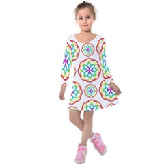 Geometric Circles Seamless Rainbow Colors Geometric Circles Seamless Pattern On White Background Kids  Long Sleeve Velvet Dress