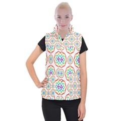 Geometric Circles Seamless Rainbow Colors Geometric Circles Seamless Pattern On White Background Women s Button Up Puffer Vest