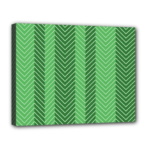 Green Herringbone Pattern Background Wallpaper Canvas 14  X 11  by Simbadda
