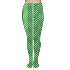 Green Herringbone Pattern Background Wallpaper Women s Tights