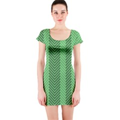 Green Herringbone Pattern Background Wallpaper Short Sleeve Bodycon Dress