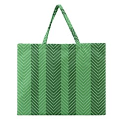 Green Herringbone Pattern Background Wallpaper Zipper Large Tote Bag by Simbadda