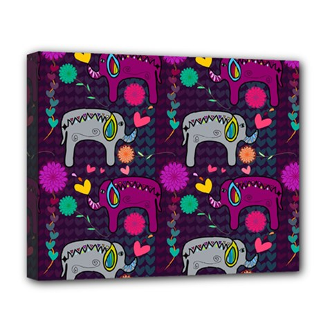 Colorful Elephants Love Background Deluxe Canvas 20  X 16   by Simbadda