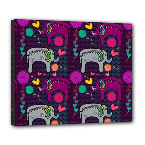 Colorful Elephants Love Background Deluxe Canvas 24  X 20   by Simbadda