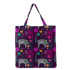 Colorful Elephants Love Background Grocery Tote Bag by Simbadda