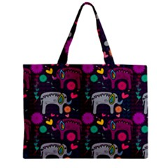 Colorful Elephants Love Background Zipper Mini Tote Bag by Simbadda