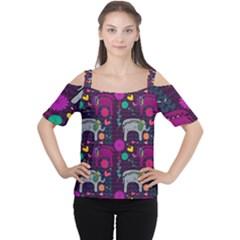 Colorful Elephants Love Background Women s Cutout Shoulder Tee