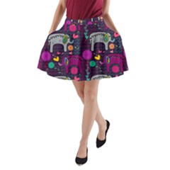 Colorful Elephants Love Background A Line Pocket Skirt by Simbadda