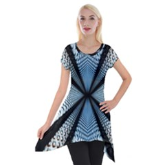 Dimension Metal Abstract Obtained Through Mirroring Short Sleeve Side Drop Tunic by Simbadda