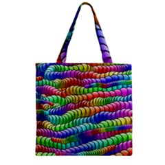 Digitally Created Abstract Rainbow Background Pattern Zipper Grocery Tote Bag by Simbadda