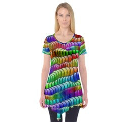 Digitally Created Abstract Rainbow Background Pattern Short Sleeve Tunic