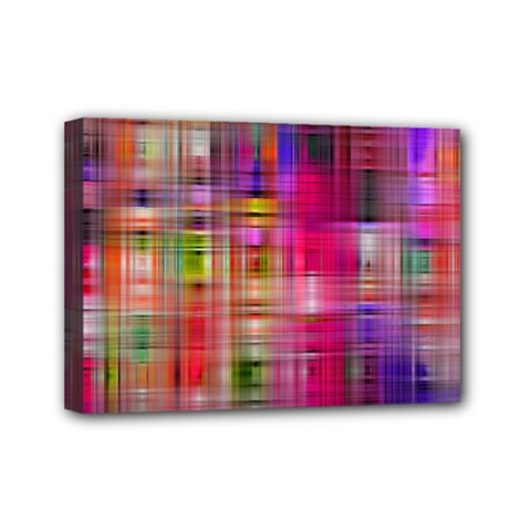 Background Abstract Weave Of Tightly Woven Colors Mini Canvas 7  X 5  by Simbadda