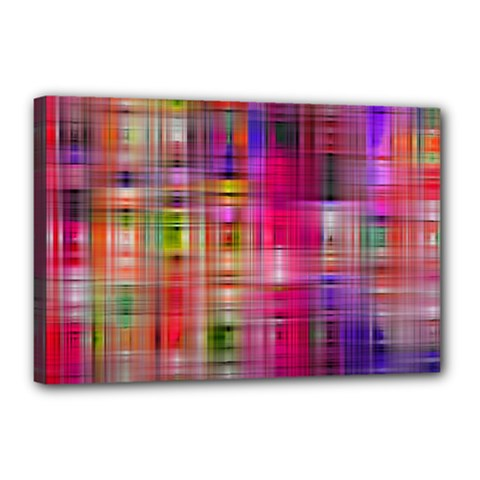 Background Abstract Weave Of Tightly Woven Colors Canvas 18  X 12  by Simbadda