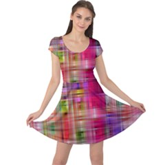 Background Abstract Weave Of Tightly Woven Colors Cap Sleeve Dresses