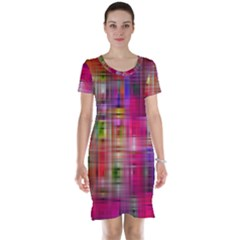 Background Abstract Weave Of Tightly Woven Colors Short Sleeve Nightdress