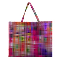 Background Abstract Weave Of Tightly Woven Colors Zipper Large Tote Bag by Simbadda