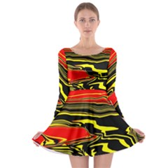 Abstract Clutter Long Sleeve Skater Dress