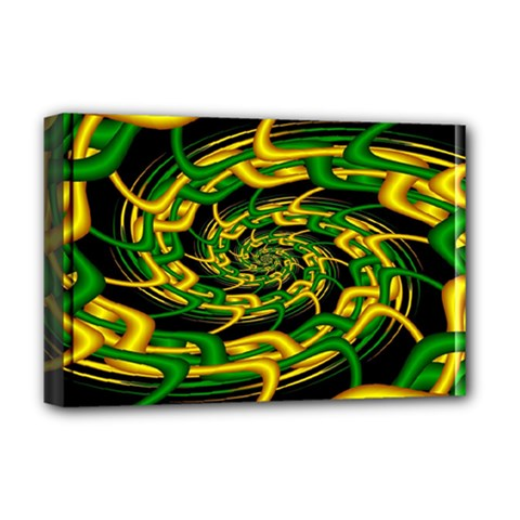 Green Yellow Fractal Vortex In 3d Glass Deluxe Canvas 18  X 12   by Simbadda
