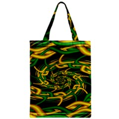 Green Yellow Fractal Vortex In 3d Glass Zipper Classic Tote Bag by Simbadda