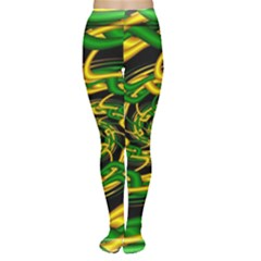 Green Yellow Fractal Vortex In 3d Glass Women s Tights