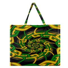 Green Yellow Fractal Vortex In 3d Glass Zipper Large Tote Bag by Simbadda