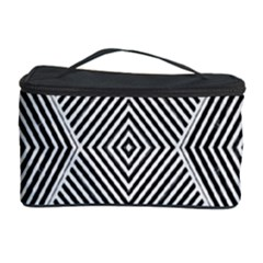 Black And White Line Abstract Cosmetic Storage Case by Simbadda