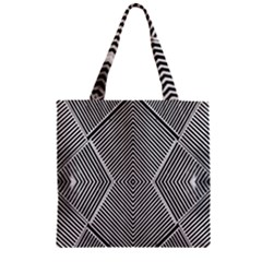 Black And White Line Abstract Zipper Grocery Tote Bag by Simbadda